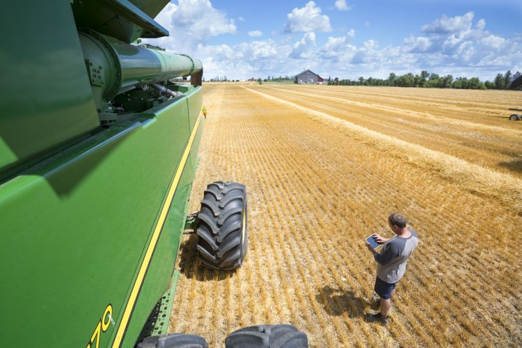 man standing beside combine looking at tablet