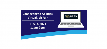Blue Banner that reads: Connecting to Abilities Job Fair: Employer Registration